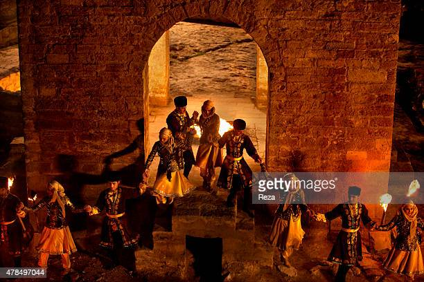 April 5 Atashgah Surakhani Baku Azerbaijan Members of Azerbaijans national dance group perform a dance around the eternal flame in the temple of fire...