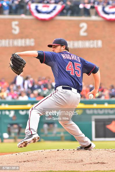 Minnesota Twins starting pitcher Phil Hughes during the Opening Day game on Monday afternoon Comerica Park Detroit Michigan
