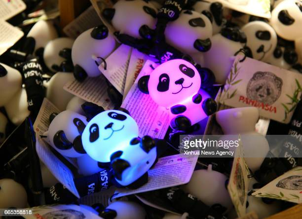 Photo taken on April 5 2017 shows the panda toys sold at Ouwehands Zoo in Rhenen a town in central Netherlands The 'Pandasia' will house giant pandas...