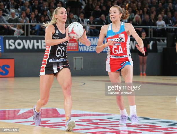 April Brandley of the Magpies in action during the round 12 Super Netball match between the Magpies and the Swifts at Hisense Arena on May 13 2017 in...
