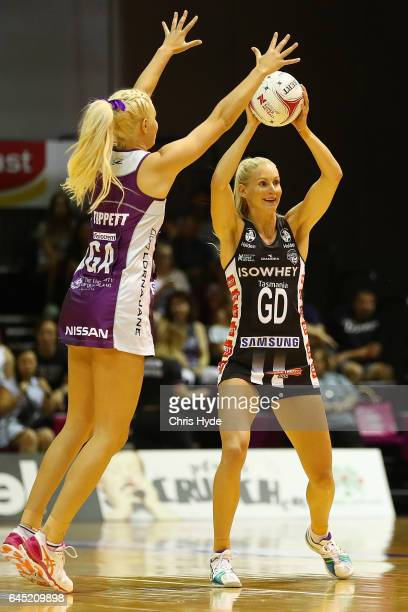 April Brandley of the Magpies passes during the round two Super Netball match between the Queensland Firebirds and the Collingwood Magpies at...