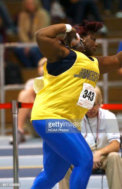 12 MAR 2005 April Burton of Cal State Bakersfield competes in the Women's Shot Put competition during the Division II Indoor Track and Field...