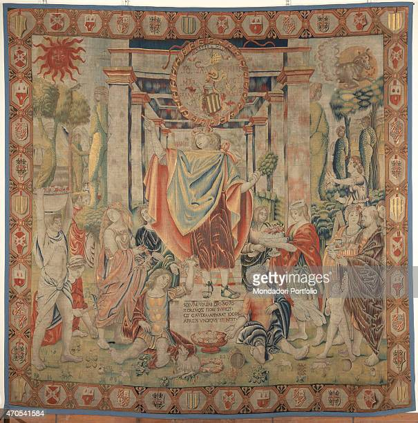 'April by Benedetto da Milano upon drawing by Bramantino c 15031508 16th Century tapestry Italy Lombardy Milan Sforza Castle Whole artwork view...