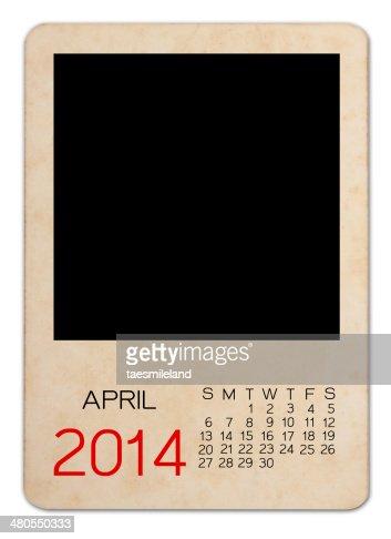 April Calendar 2014 on the Empty old photo : Stock Photo