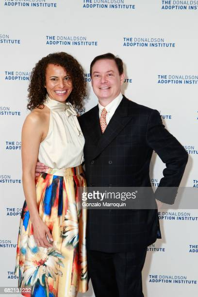 April Dinwoodie and Andrew Solomon attend the Donaldson Adoption Institute's 2017 Taste of Spring at Metropolitan Pavilion on May 11 2017 in New York...