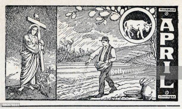 April Easter Sunday sowing in the fields zodiac sign of Taurus Header sheet for the month April in a German almanac woodcut Germany 1919