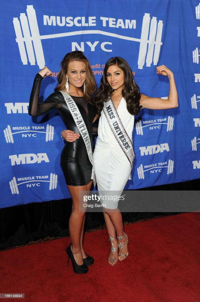April Maroshick and <a gi-track='captionPersonalityLinkClicked' href=/galleries/search?phrase=Olivia+Culpo&family=editorial&specificpeople=9194131 ng-click='$event.stopPropagation()'>Olivia Culpo</a> attends 16th Annual MDA Muscle Team Gala and Benefit Auction at Pier 60 on January 8, 2013 in New York City.