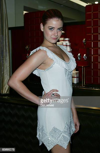 April Rose Pengilly arrives for the Cartier Christmas Party at the Cartier Boutique on December 3 2008 in Sydney Australia
