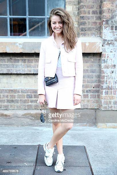 April Rose Pengilly wearing an outfit by Manning Cartell and Chanel at MercedesBenz Fashion Week Australia 2015 at Carriageworks on April 15 2015 in...