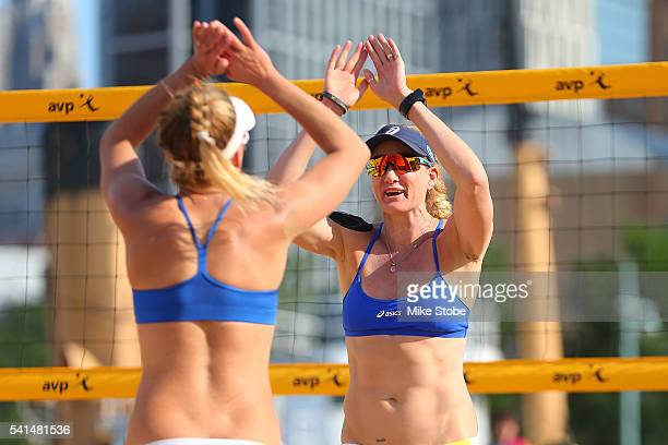 April Ross and Kerri Walsh Jennings celebrate a point against Lane Carico and Summer Ross during the Women's AVP New York Open Championship Match at...