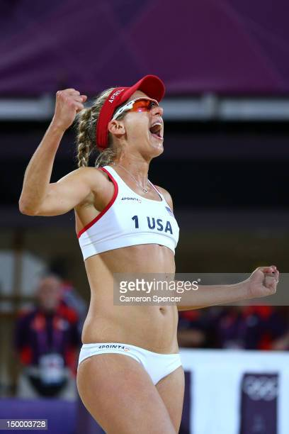 April Ross of the United States celebrates a point during the Women's Beach Volleyball Gold medal match on Day 12 of the London 2012 Olympic Games at...