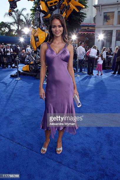 April Scott during DreamWorks Pictures and Paramount Pictures Los Angeles Premiere of 'Transformers' at Mann's Village Theater in Westwood California...