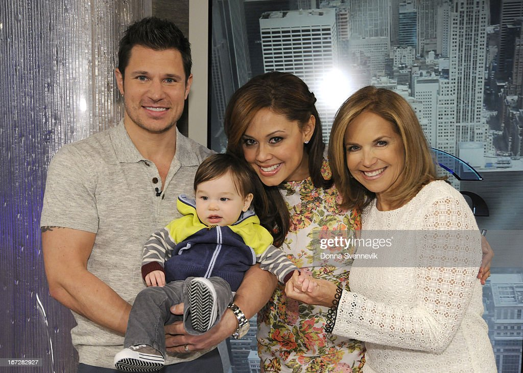KATIE - 4/23/13 - April showers are bringing babies to KATIE, distributed by Disney-ABC Domestic Television. (Photo by Donna Svennevik/Disney-ABC via Getty Images) NICK LACHEY, KATIE COURIC, VANESSA LACHEY WITH BABY, KATIE COURIC