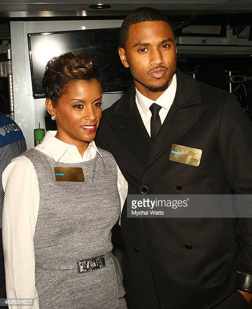 April Tucker and Trey Songz attend Trey Songz Rings The NYSE Closing Bell at New York Stock Exchange on November 13 2014 in New York City