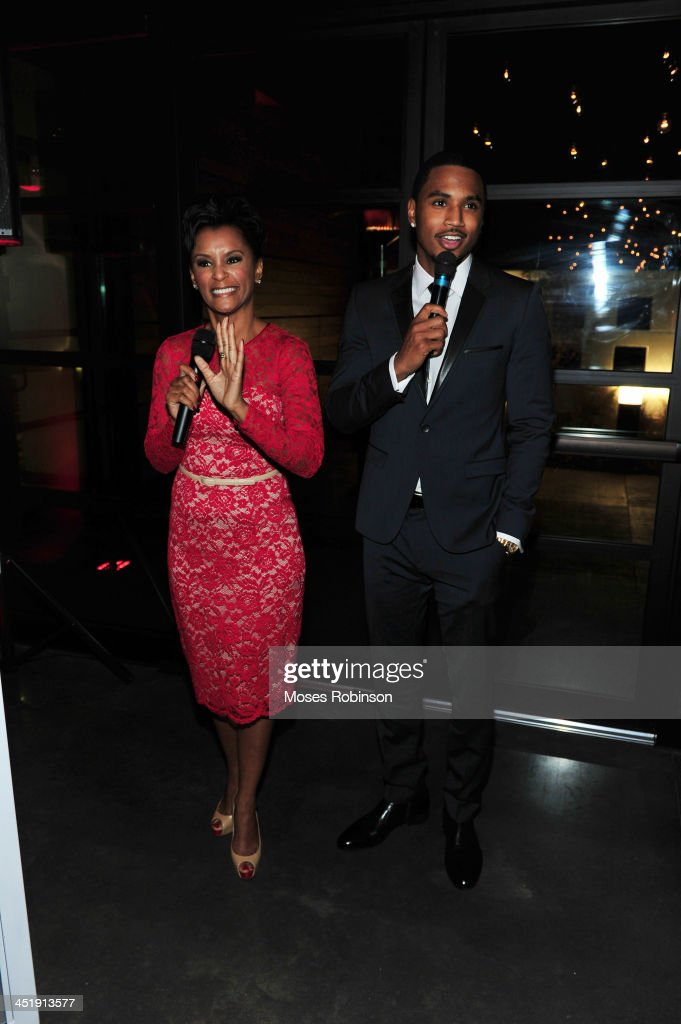 April Tucker with her son recording artist <a gi-track='captionPersonalityLinkClicked' href=/galleries/search?phrase=Trey+Songz&family=editorial&specificpeople=674835 ng-click='$event.stopPropagation()'>Trey Songz</a> attend his Birthday And Host Evening Benefitting 'Angels With Heart Foundation Month' at Le Meridien Atlanta Perimeter Hotel on November 24, 2013 in Atlanta, Georgia.