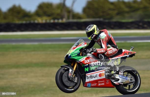 Aprilia rider Aleix Espargaro of Spain rides back after the qualifying session of the Australian MotoGP Grand Prix at Phillip Island on October 21...