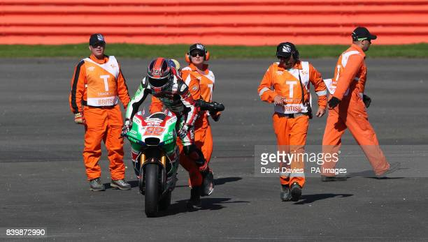 Aprilla Racing Sam Lowes tries to get his bike going again during the British Moto Grand Prix at Silverstone Towcester