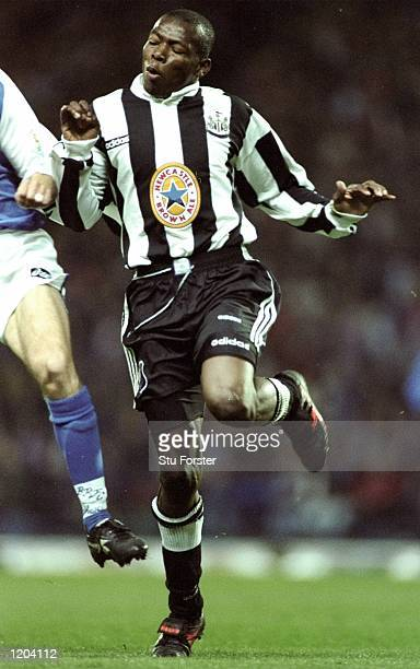 Faustino Asprilla of Newcastle United in action during an FA Carling Premiership match against Blackburn Rovers at Ewood Park in Blackburn England...