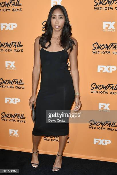 Apryl Jones attends the Premiere Of FX's 'Snowfall' Arrivals at The Theatre at Ace Hotel on June 26 2017 in Los Angeles California