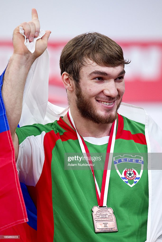 Apti Aukhadov from Russia with gold medal in total competition men's 85 kg Group A during weightlifting IWF World Championships Wroclaw 2013 at Centennial Hall in Wroclaw on October 25, 2013