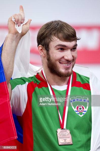 Apti Aukhadov from Russia with gold medal in total competition men's 85 kg Group A during weightlifting IWF World Championships Wroclaw 2013 at...