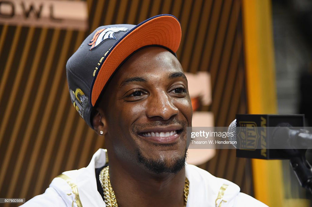 Aqib Talib #21 of the Denver Broncos addresses the media at Super Bowl Opening Night Fueled by Gatorade at SAP Center on February 1, 2016 in San Jose, California.