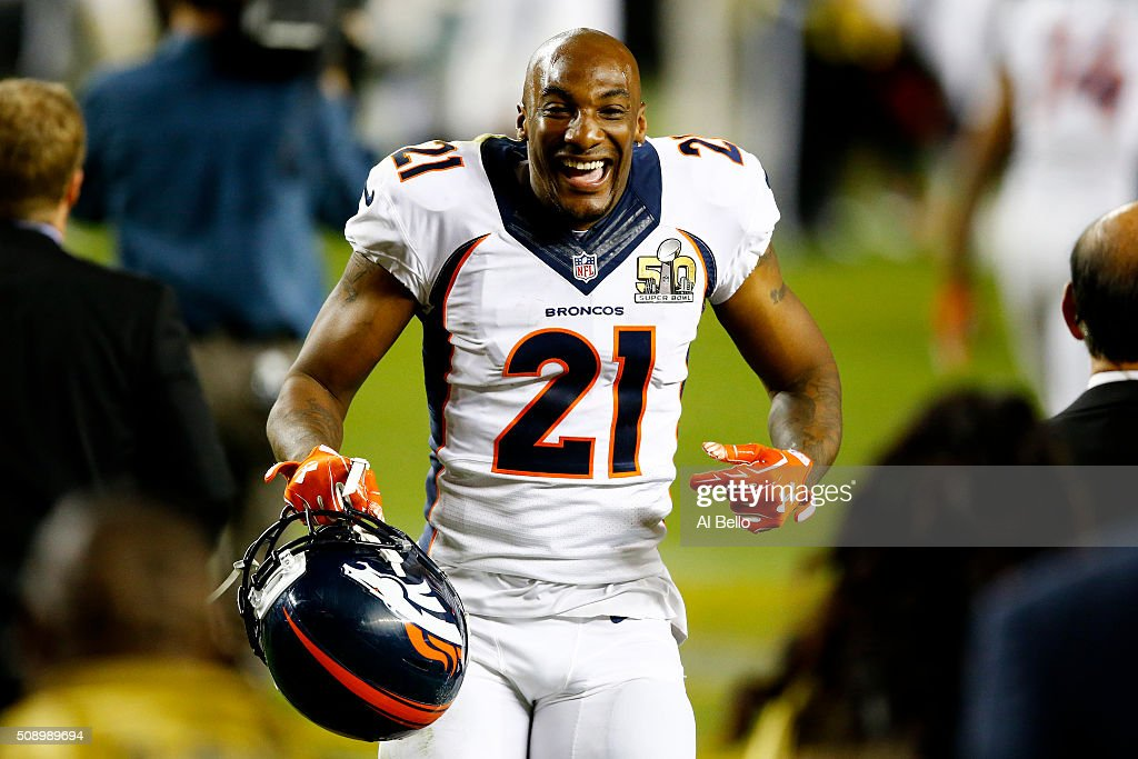 Aqib Talib #21 of the Denver Broncos celebrates after defeating the Carolina Panthers during Super Bowl 50 at Levi's Stadium on February 7, 2016 in Santa Clara, California. The Broncos defeated the Panthers 24-10.