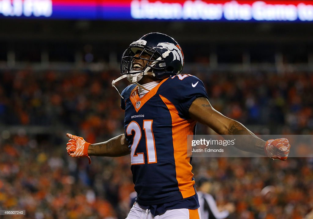 Aqib Talib #21 of the Denver Broncos celebrates the Broncos' safety in the fourth quarter against the Green Bay Packers at Sports Authority Field at Mile High on November 1, 2015 in Denver, Colorado.