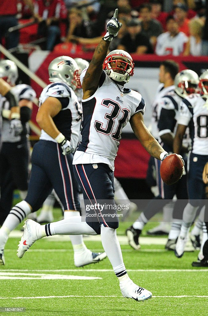 <a gi-track='captionPersonalityLinkClicked' href=/galleries/search?phrase=Aqib+Talib&family=editorial&specificpeople=4037138 ng-click='$event.stopPropagation()'>Aqib Talib</a> #31 of the New England Patriots celebrates after an interception against the Atlanta Falcons at the Georgia Dome on September 29, 2013 in Atlanta, Georgia.