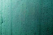 Aqua blue wet window Glass