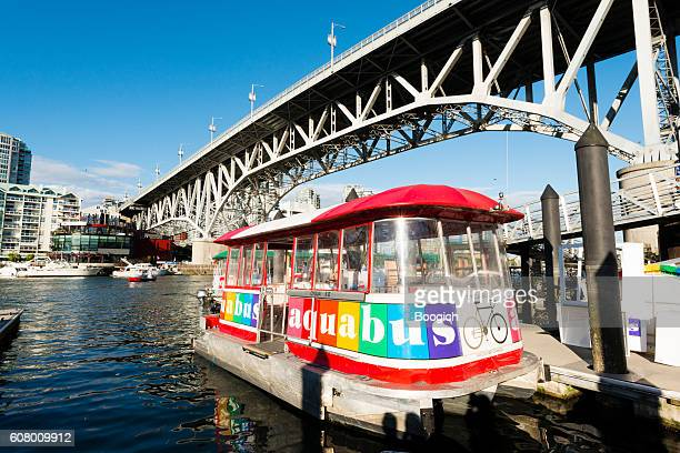 Aquabus Ferry in False Creek Bay Granville Island Vancouver Canada