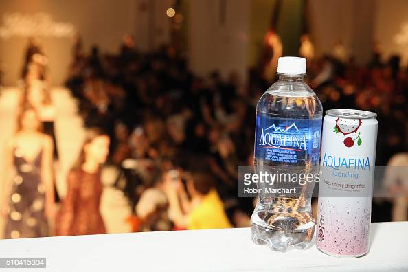 Aquafina on display during the Lela Rose show on Day 5 of New York Fashion Week The Shows at Skylight at Clarkson Sq on February 15 2016 in New York...