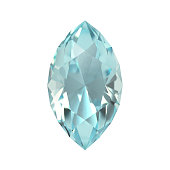 Realistic 3D render of a gemstone, aquamarine, marquise cut. Isolated on white background.