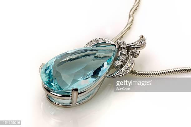 Aquamarine or Topaz White Gold Pendant