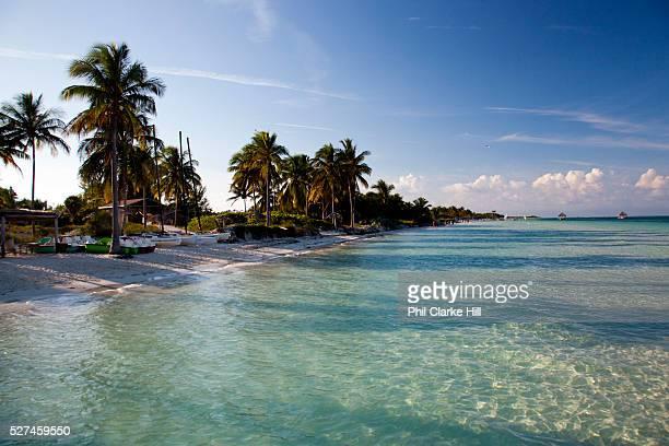 Aquamarine ultramarine deep blue waters and beach on Cayo Coco island and resorts Ciego de Avila province Cuba
