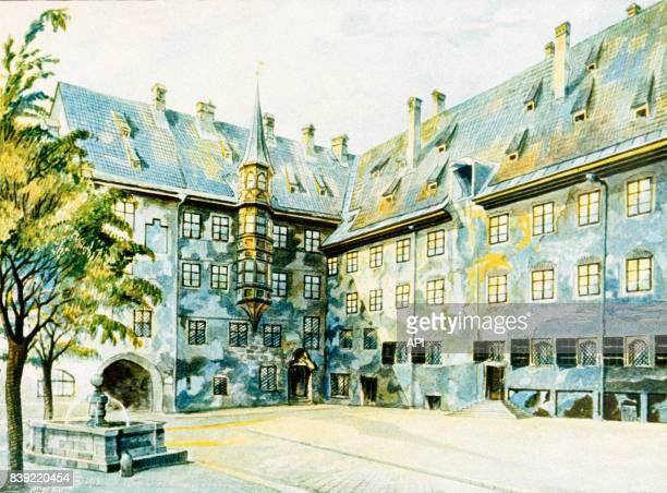 Aquarelle d'Adolf Hitler réalisée en 1914 représentant la cour de l'ancienne résidence royale de Munich en Allemagne