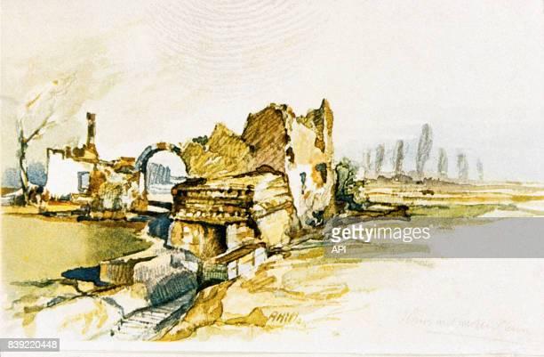 Aquarelle d'Adolf Hitler représentant les ruines d'une maison sur le front pendant la Première Guerre Mondiale