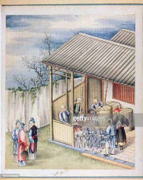 Aquarelle représentant l'emballage de la porcelaine dans un atelier en Chine au XVIIIe siècle