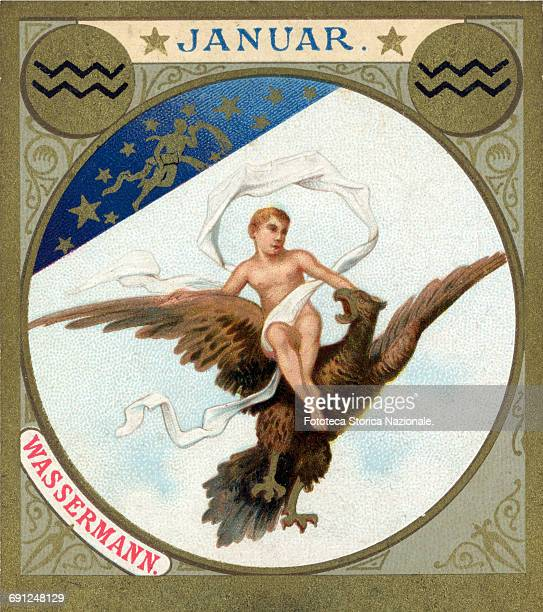Ganymede carried off by Jupiter little picture dedicated to January from a series illustrated with zodiac signs and scenes from classical mythology...