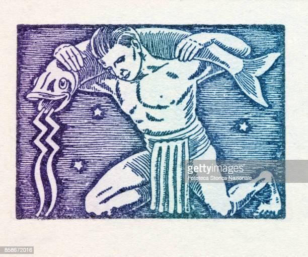 Aquarius is the eleventh sign of the zodiac of western astrology fixed and of air from 21 January to February 19 Colored version of woodcut of 1942...
