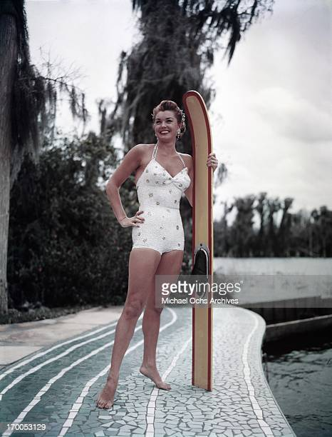Aquatic film star Esther Williams poses for a portrait during the filming of 'Easy To Love' at Cypress Gardens theme park in 1953 near Winterhaven...