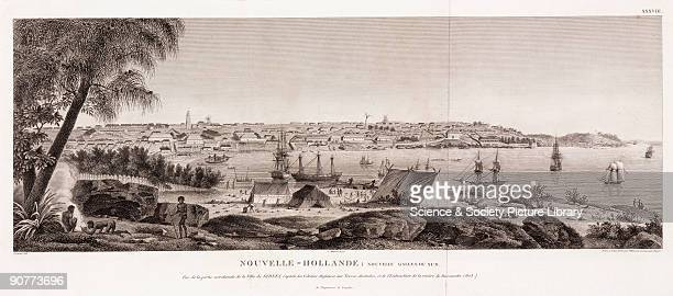 Aquatint by Pillement and Duparc after Lesueur of the British settlement at Sydney New South Wales New Holland In the foreground aboriginals are...