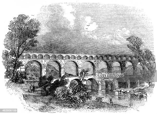 Aqueduct of Nimes at the Pont du Gard France 1886 Illustration from Cyclopaedia of Useful Arts Mechanical and Chemical Manufactures Mining and...