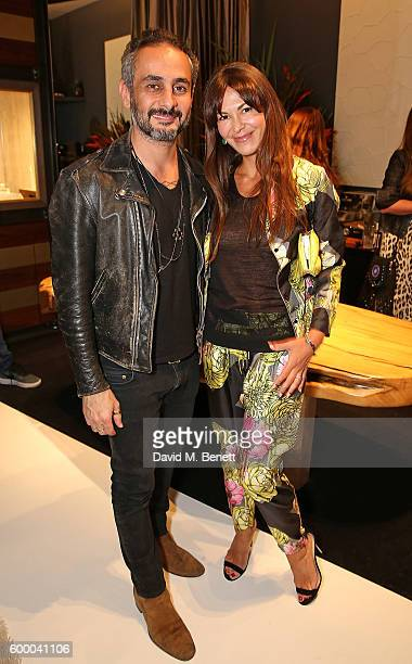 Ara Vartanian and Brigitta Spinocchia attend the Ara Vartanian store opening party on Bruton Place on September 7 2016 in London England