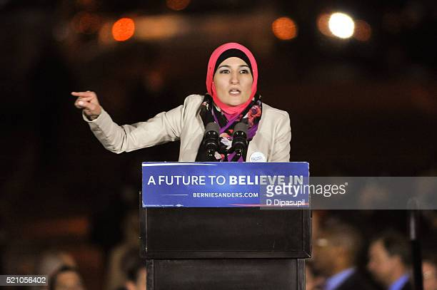 Arab American Association of New York executive director Linda Sarsour speaks onstage at a campaign event for Democratic presidential candidate US...