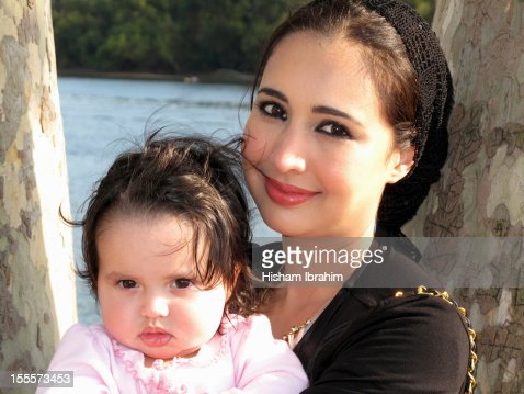 Arab American Mother and Baby Daughter, Portrait : Stock Photo