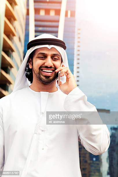 Arab business on the phone in Dubai.