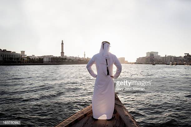Arab businessman in traditional dress, Dubai Creek