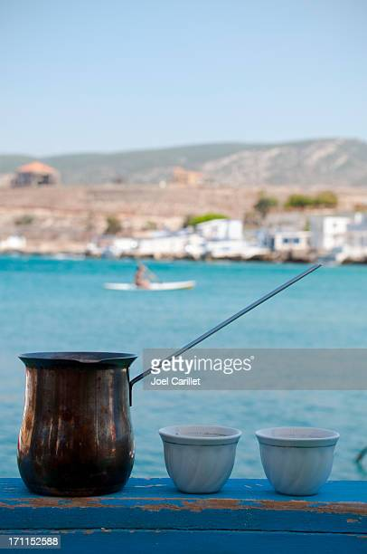 Arab coffee by the sea in Enfeh, Lebanon
