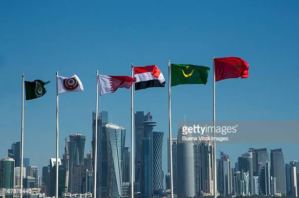 Arab countries  flags and skyline of Doha